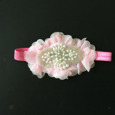 Baby Girls Pink Flower Headband Fascinator Newborn Baptism Christening Wraps