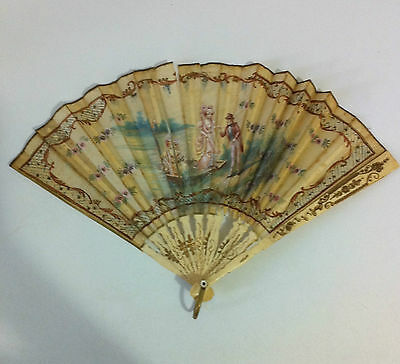 Antique Hand Painted Silk Fan Mother of Pearl Gilded Sticks Deceased Estate