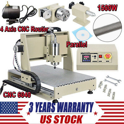 4 Axis 1500W CNC Router Engraver 3D Wood Carving Milling Engraving Machine 6040T
