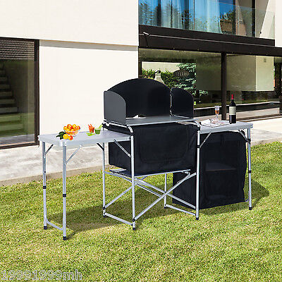 Aluminum Camp Picnic Cabinet Folding Cupboard Table W/ Wild Board Cooking