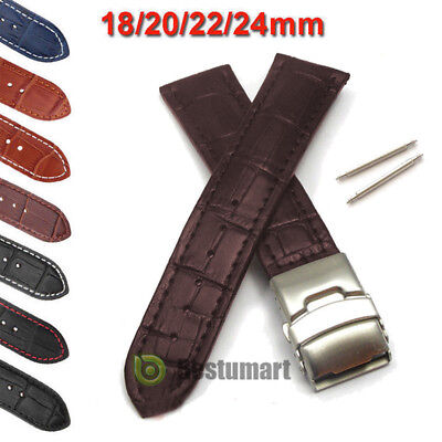 Mens Genuine Leather Watch Strap Band Croco Deployment Clasp Spring Bars 2017New