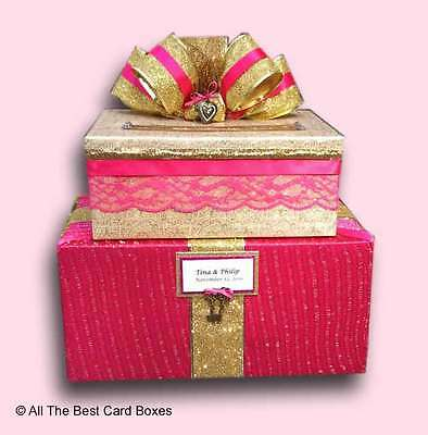 Wedding Card Box,Hot pink,Gold,Sweet 16,Quinceanera,sweet 16,birthday card,gift