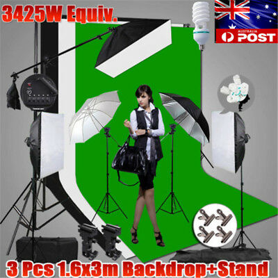 "3425W 5 Head Photo Softbox Lighting 33"" Umbrella Light 3X Backdrop+Stand Kit NEW"