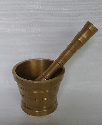 Old Mortar And Pestle -Brass -