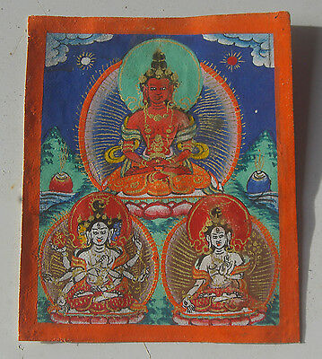 Vintage Antique Early 1900' Tibetan Thangka  From Lhasa Hand Painted  And Signed