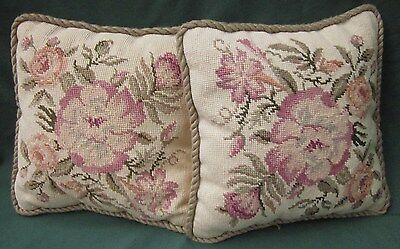 """Two 2 NEEDLEPOINT PILLOWS ROSES by KEECO WOOL TAPESTRY 1987 Vintage 12"""" HANDMADE"""