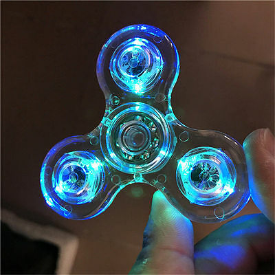 Clear Tri LED Fidget Spinners Finger Hand EDC Metal Stress Relief Gyro Toy ADHD