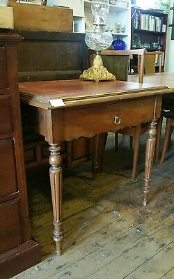 Desk Leather Top Fruitwood France Antique Compact