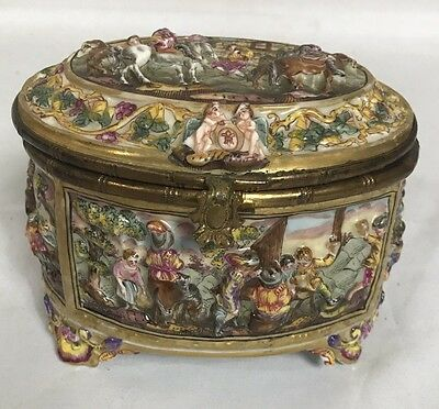 Rare Capodimonte Figures in Relief Footed Porcelain Box