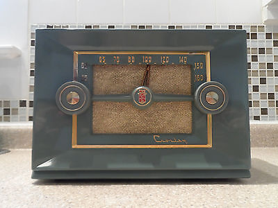 1953 Crosley E-20 GN Art Deco Tube Radio Working FreeShipping Made In USA, Baby!