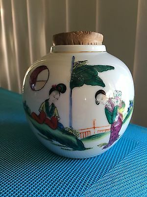 Chinese Jingdezhen Famille Rose Ceramic Hand Painted Pot