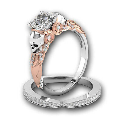 Gorgeous 925 Silver White Sapphire Skull Ring Bridal Proposed Women Jewelry Set