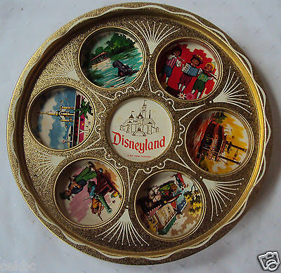 Disneyland  Metal Drink Tray Souvenir Gold Toned Disney Scenes