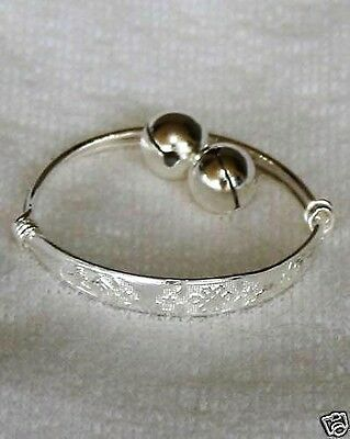 10K White Gold GF Adjustable Dangle Bells Baby, Child Bangle Bracelet 4cm ID