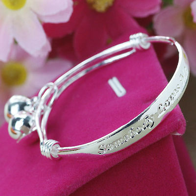 1 Stamped 925 Adjustable Dangle Bells Baby, Child Bangle Bracelet 4cm ID