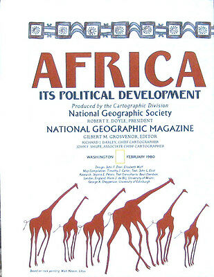 Vintage National Geographic Map Poster Africa Its Political Development 1980