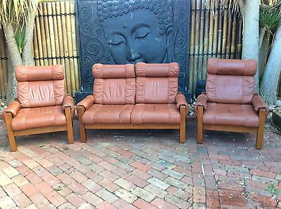Danish Leather 3 Piece Lounge 2 Seater Couch And 2 Chairs