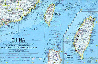 Vintage National Geographic Map Poster China 1964