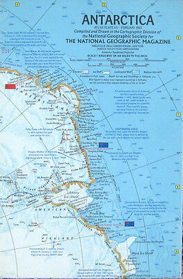 Vintage National Geographic Map Poster Antarctica 1963