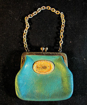 Vintage Green Leather Coin Purse