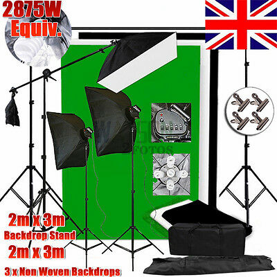 5 Head Photo Softbox Boom Arm Lighting Stand Studio 2X3M 3 Backdrop Support Kit