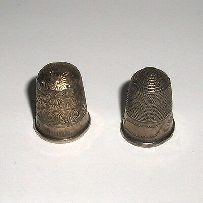 Set of  2 Sterling Silver Thimbles.