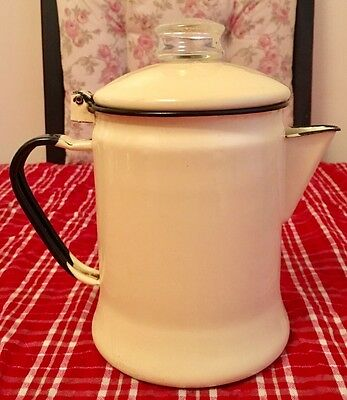 Pale Yellow & Black Graniteware Pitcher Tea Pot Enamelware with Glass Lid