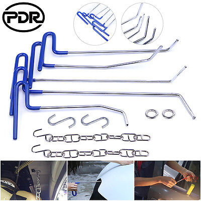 PDR Paintless Dent Repair Removal Rods Spring Steel Tools All 11pc Hail Set Kit