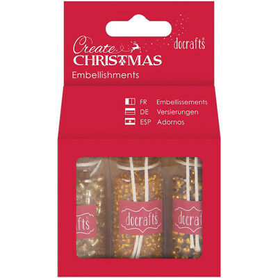 Papermania Create Christmas Embellishments 3 Bottles Gold Beads PM354853