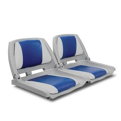2 X Premium Boat Seat Marine Folding & Swivel w/ Grey Blue All Weather UV light