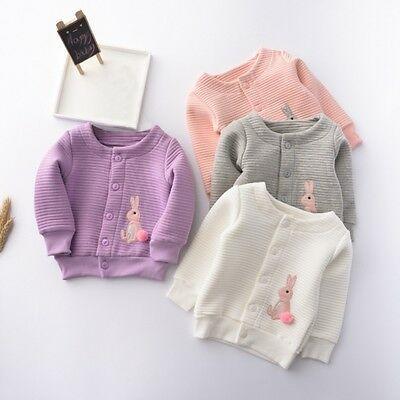 Baby Toddler Girls Rabbit Cardigan Jacket Coat Soft Cotton Outwear Clothes