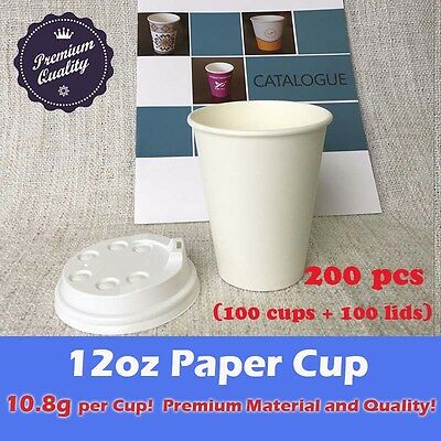 200pc/100set 12oz paper cup + lids *LOCAL PICKUP ONLY* Coffee take away Drink