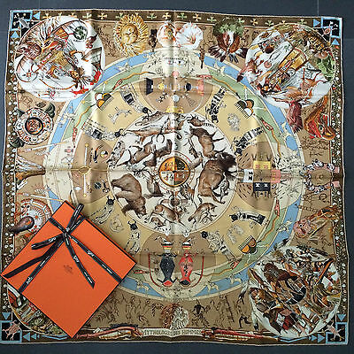 Authentic HERMES Scarf Carre MYTHOLOGIE DES HOMMES ROUGES Used Stained RARE