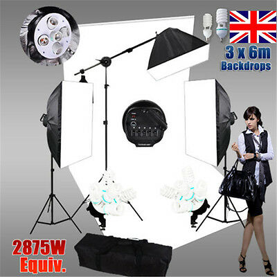 Photo Studio Softbox Continuous Lighting White Backdrop Soft Box Light Stand kIT