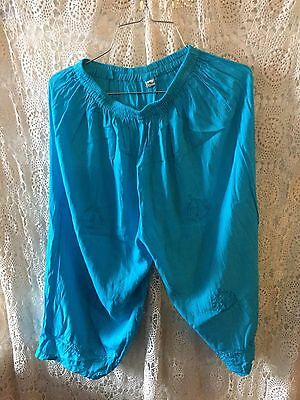 ladies sky blue hippy gypsy embroided 3/4 pants