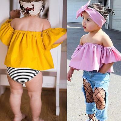 2Pcs Toddler Baby Girls Summer Off Shoulder T-Shirt Tops+Headband Outfit Clothes