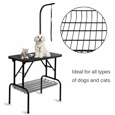 New Folding Non-Slip Surface Dogs Grooming Table Stainless Steel Arm Beauty Desk