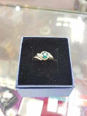 Emerald and Diamond 9ct Gold Ring