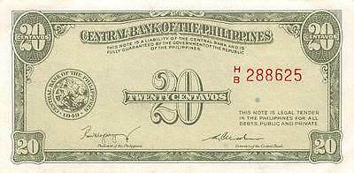Philippines  20 Centavos  1949  series H/B  Circulated Banknote