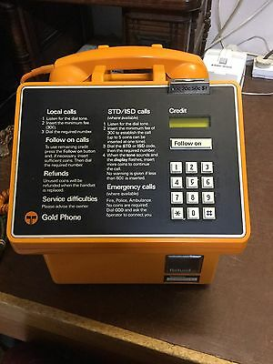 Telecom Pay Phone Gold In Excellent Original Condition With Original Key