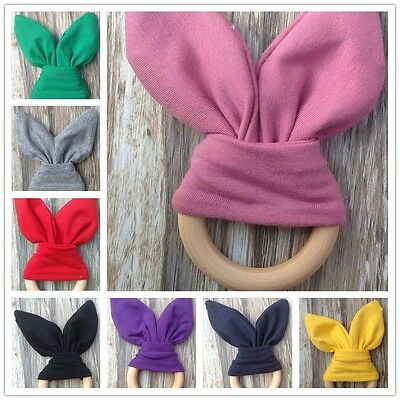 Safety Wooden Natural Baby Rabbit Teething Ring Teether Bunny Sensory Toy AU