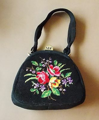 Vintage 1950s Embroidered Wool & Suede Women's Evening Bag