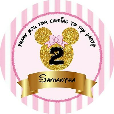 Round personalised Pink Minnie Mouse glitter birthday party bag labels stickers