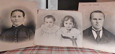 """Lot Of 3 Large Antique Vintage Victorian Picture Wall Portraits Family 20 X 16"""""""