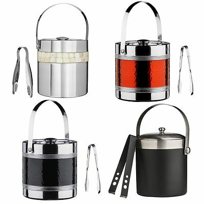 Ice Bucket With Tongs Cooler Wine Champagne Stainless Steel With Lid & Handle
