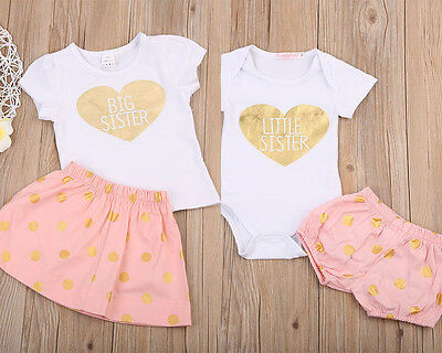 New Infant Baby Big Sister T-shirt+Dress Outfits Matching Little Sister Romper