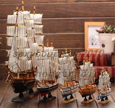 Vintage Wooden Tall Ship Model Nautical Boat Schooner Decor Collectible Toy Gift