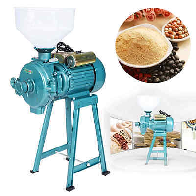 220V Electric Feed Mill Wet Dry Cereal Grinder Corn Grain Rice Coffee w/ 1Funnel