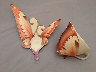 BNIB New FRANZ PORCELAIN BUTTERFLY CUP & SAUCER #XP1907 Enesco Ltd