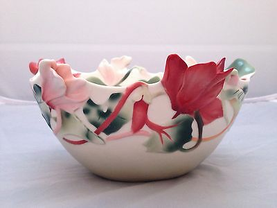 BNIB New FRANZ PORCELAIN BOWL #FZ01098 CYCLAMEN Enesco Ltd